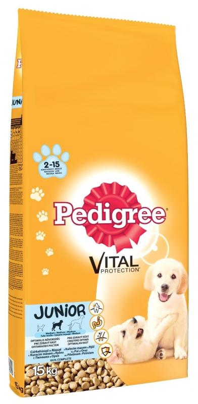 Pedigree Junior Csirke-rizs 15 kg