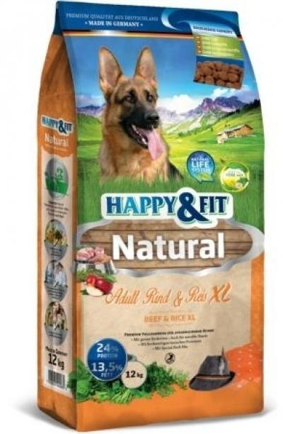 Happy & Fit Natural Adult Rind&Reis XL kutyatáp 12 kg