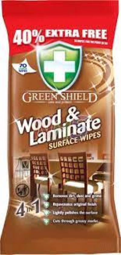 Green Shield nedves törlőkendő 70db  Fa felület tisztító